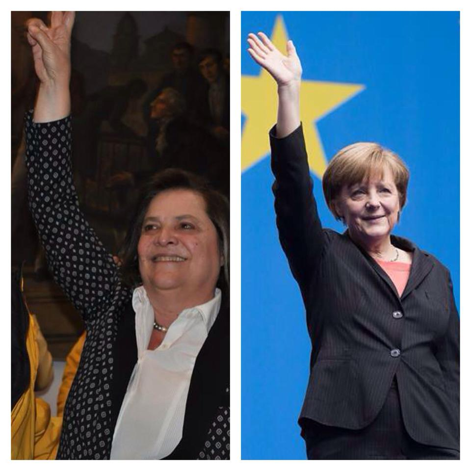 Bogotá mayoral candidate Clara López and her lookalike, German Chancellor Angela Merkel.