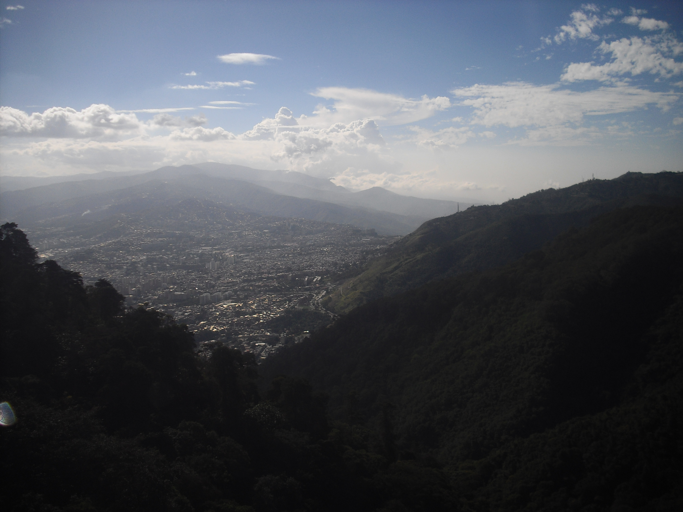 Caracas viewed from, what some people might see as, a safe distance up in Parque Nacional Warairarepano ...