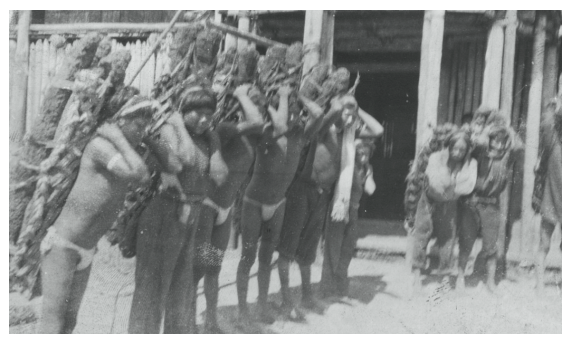 Indigenous rubber workers in the Amazon in the early 1900s (photo from Fucai, Colombia).
