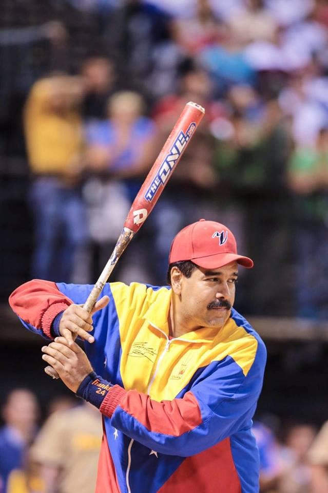 Baseball cap-wearing Venezuelan president Nicolás Maduro ...