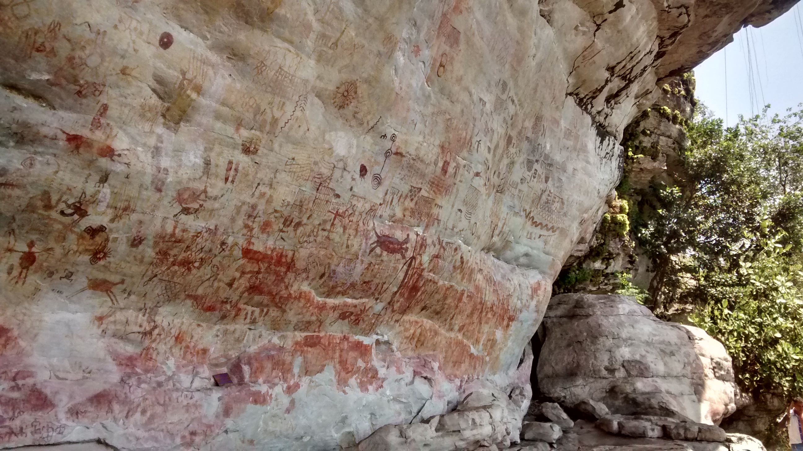 Ancient rock paintings at Nuevo Tolima, Guaviare department, Colombia.