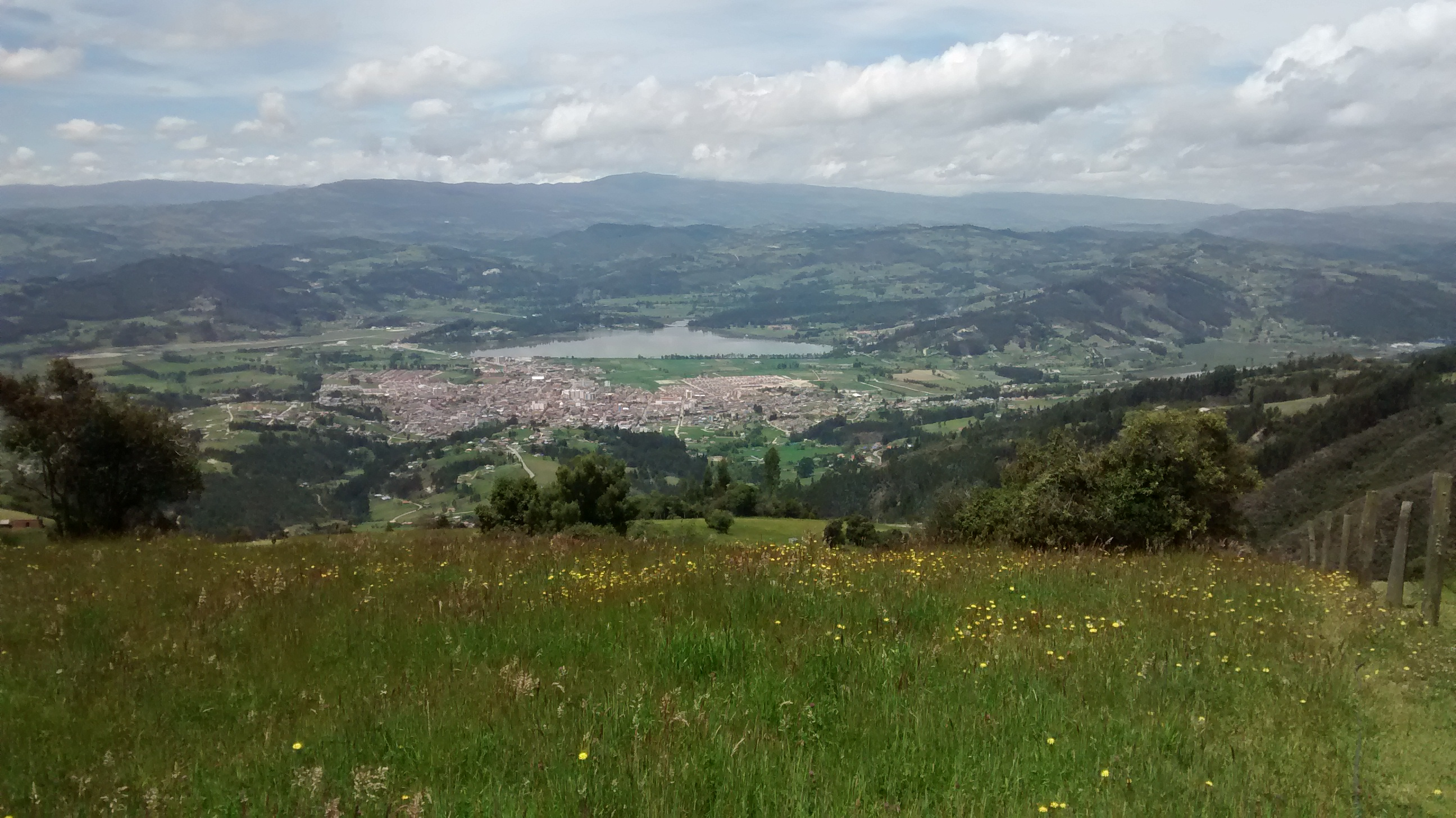 A view of Paipa, Boyacá, Colombia from the hills to the north ...
