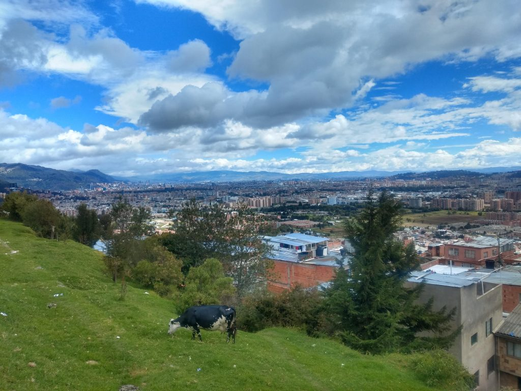 A view of Bogotá, Colombia, looking towards the centre from the hills in the northeast.